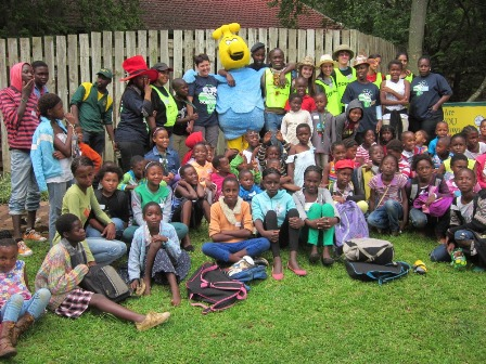 Manzi the Waterwise entertaining the kidz